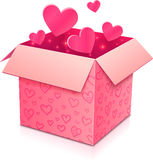 Ornate open box with rose paper hearts inside Royalty Free Stock Photos