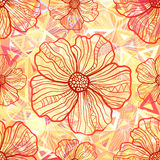 Ornate orange flowers on abstract triangles Stock Photography
