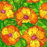 Ornate orange flowers vector seamless pattern Stock Photos