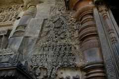 Ornate outer wall of Chennakeshava Temple with numerous intricate carvings and friezes, Belur, Karnataka, India Stock Photography