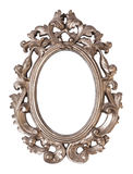 Ornate oval picture frame. Ornate baroque style oval picture frame isolated on a white background Royalty Free Stock Photo