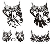 Ornate owl symbols in tribal style Stock Photography