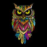 Ornate owl, zenart for your design. Vector illustration Royalty Free Stock Photos