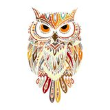 Ornate owl, zenart for your design. Vector illustration Royalty Free Stock Photography