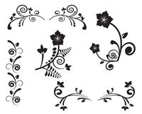 Ornate pattern. Variety of options for flower ornament on a white background Royalty Free Stock Photos