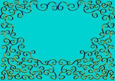 Ornate pattern. In form heart on turquoise background Stock Photo