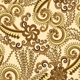 Ornate pattern in brown and yellow tones. With large flowers on a beige background stock illustration