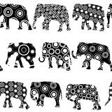 Ornate patterned elephantes Stock Image