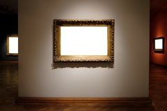 Ornate Picture Frames Art Gallery Museum Exhibit Blank White Isolated Clipping Path in gallery stock image