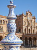 Ornate pillar in Plaza de Espana, Seville, Spain Stock Photo