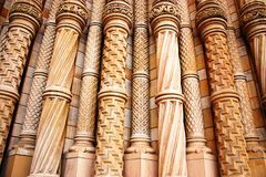 Ornate Pillars At The Natural History Museum. The ornate pillars outside the entrance to the Natural History Museum in London, England royalty free stock photography