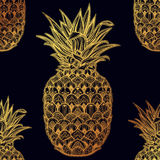 Ornate pineapple fruit vector seamless pattern. Royalty Free Stock Images
