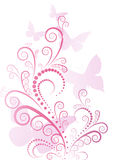 Ornate pink floral. With butterfly Stock Images