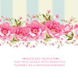 Ornate pink flower border with tile. Stock Images