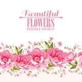 Ornate pink flower decoration with text label. Stock Image