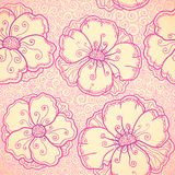 Ornate pink flowers vector seamless pattern Stock Image