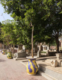 Ornate plant pots cemetery in Coptic Cairo Stock Image