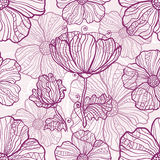 Ornate poppy flowers vector seamless pattern Royalty Free Stock Photography