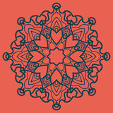 Ornate Print on Red Background. Mandala Flower for Colouring Work Relaxation Adult Zentangle Background Royalty Free Stock Image