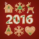 Ornate realistic set traditional Christmas stock illustration