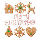 Ornate realistic  set traditional Christmas Stock Images