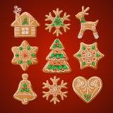 Ornate realistic set traditional Christmas royalty free illustration