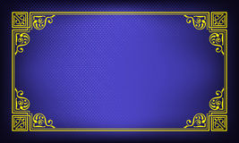 Ornate rectangular yellow frame on dark blue background with halftone effect. Royalty Free Stock Photography