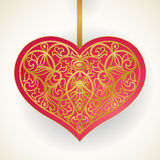 Ornate red and gold heart. Stock Images