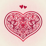 Ornate red heart on pink seamless background. Vector baroque lacy pattern. Element for design. It can be used for decorating of invitations, greeting cards Royalty Free Stock Photos
