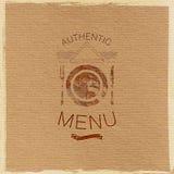 Ornate restaurant menu label on cardboard texture Royalty Free Stock Images