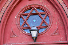 Ornate, reuleaux window and lamp, church, downtown Keene, New Ha Royalty Free Stock Images
