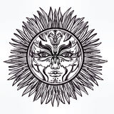 Ornate romantic pagan sun symbol . Stock Image