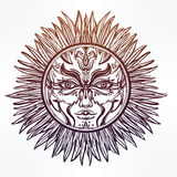 Ornate romantic pagan sun symbol . Stock Photography