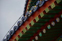 Ornate roof of Chinese temple - red, blue and green rafters with eyes royalty free stock photos