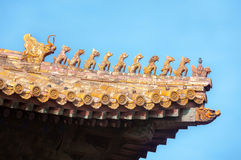 Ornate roof figurines at the Forbidden City, Beijing, China Royalty Free Stock Photos