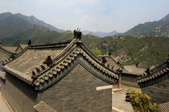 Ornate Roofs. Ornate House Roofs on the Great Wall of China Royalty Free Stock Image