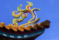 Ornate rooftop of a Chinese Buddhist temple Stock Photos