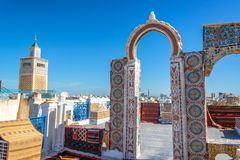 Ornate Rooftop and Mosque View Royalty Free Stock Photography