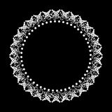 Ornate round frame gray on a dark background. . Ornate round frame gray on a dark background. Abstract image. . Space for text Stock Photo