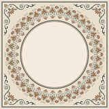 Ornate round framework. For an announcement, label, card. Decorative corners. Pattern brush is included in vector file Stock Images