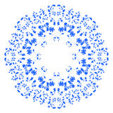 Ornate round lace pattern. Circle background with floral details.floral blue motifs in Russian style Vector Illustration