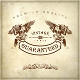 Ornate royal luxury premium quality and guarantee. Hand draw ornate royal luxury premium quality and guarantee label design in baroque style (design element of Royalty Free Stock Photo