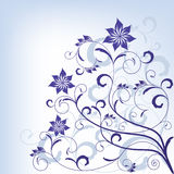 Ornate scroll blue floral design Stock Photography