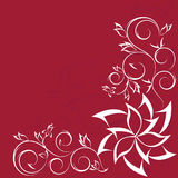 Ornate scroll floral design isolated on red Royalty Free Stock Photo