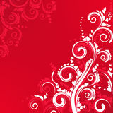 Ornate scroll floral design in red color Stock Photography