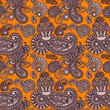 Ornate seamless flower paisley design background Royalty Free Stock Photo