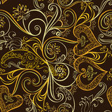Ornate seamless, golden pattern  with bells Royalty Free Stock Photos