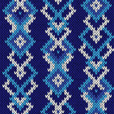 Ornate seamless knitted cool blue pattern Royalty Free Stock Photos
