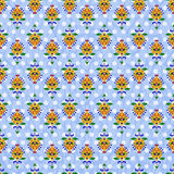 Ornate seamless pattern. Colorful ornate seamless pattern on a blue background with dots Stock Photography