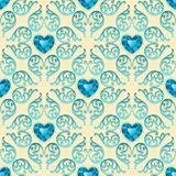 Ornate Seamless Pattern with Diamond Hearts. Vector illustration Stock Illustration
